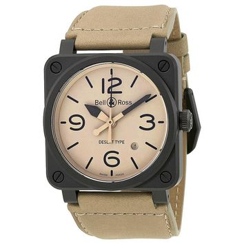 Bell and Ross Aviation Automatic Beige Dial Mens Watch BR0392-DESERT-CE