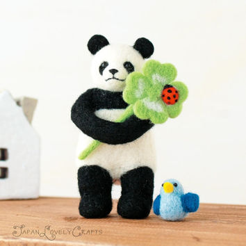 Japanese Needle Wool Felt DIY Kit - Panda Bear, Little Bird, Clover - Makiko - Kawaii Hamanaka - F06