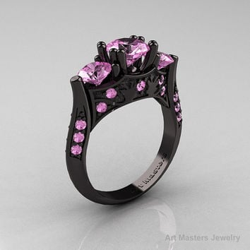 Nature Inspired 14K Black Gold Three Stone Light Pink Sapphire Solitaire Wedding Ring Y230-14KBGLPS