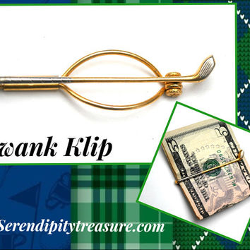 Golf Swank clip Money Clip Tie clip gold silver golf club men gift for him