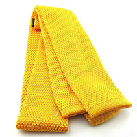 "Men Dark Yellow Knit Neck Tie 2"" Wide"