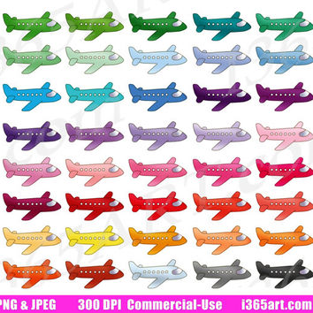 Airplane Clipart, Plane Clip Art, Airline Jets, Airplane Icons, Planner Stickers, Digital Graphics, PNG, Commercial