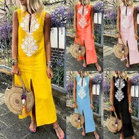 feitong summer Women's Printed Sleeveless O-neck Maxi Dress Split Hem Baggy Kaftan Long Dress vestidos Business Party