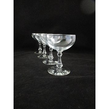 Champagne Coupes Faceted Column Stem