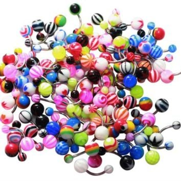 BodyJ4You Belly Ring Assorted Lot of 100 Assorted Navel Piercing Jewelry Surgical Steel 14G