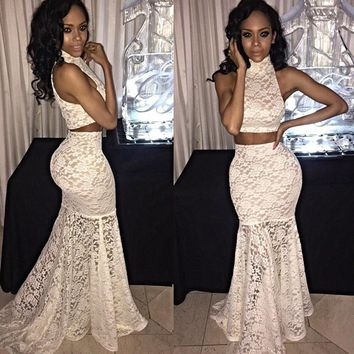 Fashion Turtleneck Sleeveless Vest Lace Tight Long Skirt Set Two-Piece