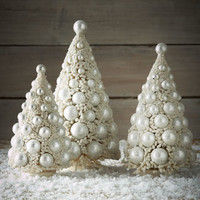 Bethany Lowe Three Ivory Bauble Trees