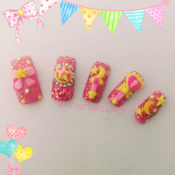 SAILOR MOON >> sweet nails,kawaii nails ,nail art ,nail 3d ,fake nails,acrylic nails,deco,cartoon nails,3d nails,sailormoon,japanese