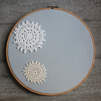 Shabby Chic Doily Lace Art Light Grayish Cottage Chic Vintage Embroidery Hoop Wall Decor