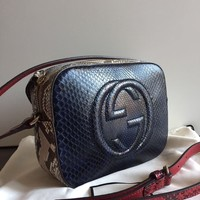 GUCCI SOHO DISCO BAG PYTHON SHOULDER  BAG SAC BOLSO TASCHE NEW AUTHENTIC 100%