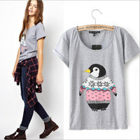Penguin Print Cuffed Short-Sleeve Shirt