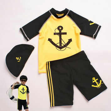 2-10Years Boy Child Swimming Accessories 2017 Brand New Cartoon Two Pieces Kids Swimwear for Boys Cheap Price Highly Quality