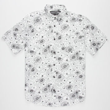 Straight Faded Floral Mens Shirt Black/White  In Sizes
