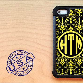 Yellow and black damask iPhone 5 case with extra protection - Monogram iPhone 5 hard case, 2 piece rubber liner case, personalized case