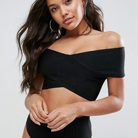 Missguided Bardot Bandage Bikini Top at asos.com