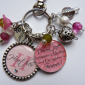 The LOVE between a Mother and Daughter is Forever keychain nana mom Daughter nana grandma keychain friend keychain pink paisley white
