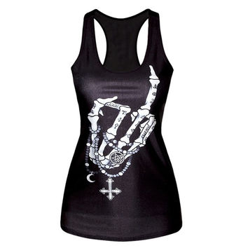 Fashion Womens T-shirt 3D Top Printed Camisole Girls Tank Tops For Sport Wear Clothing = 1932757636
