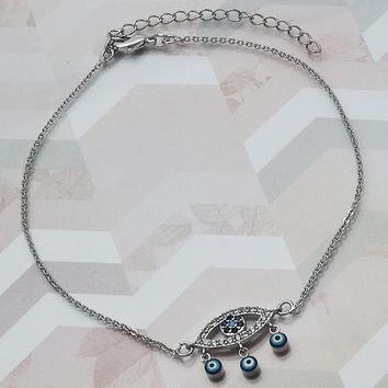 Rhodium Layered Women Greek Eye Charm Anklet , with Multicolor Micro Pave, by Folks Jewelry