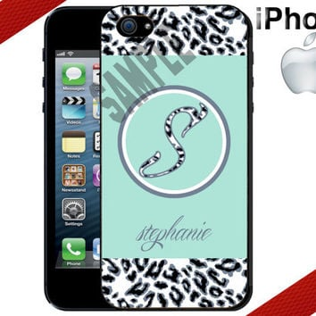 Personalized Leopard iPhone Case - Monogram - iPhone 4 Case or iPhone 5 Case