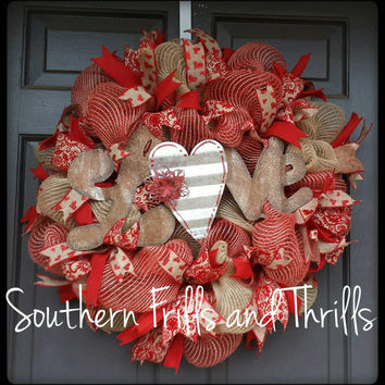 Valentine's Day Wreath, Valentine's Day Decor, Deco Mesh Wreath, Jute Wreath, Rustic Wreath, Rustic Decor, Door Hanger