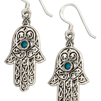STERLING SILVER FILIGREE HAND OF GOD HAMSA EARRINGS WITH SIMULATED BLUE STONE