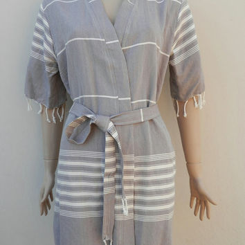 Turkish peshtemal women's gray colour cotton kimono short bathrobe, bridesmaids robe, dressing gown, spa robe, beach cover up, pool robe.