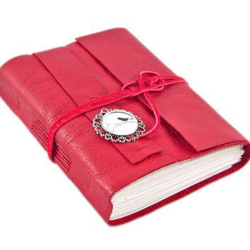 Red Leather Journal with Blank Pages and Bird Cameo