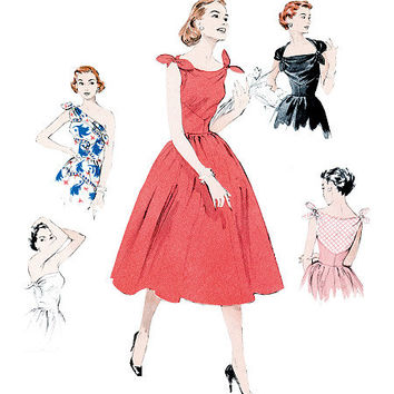 1950s Inspired Misses Cocktail Party Dress Sewing Pattern, Reissue of 1950s Butterick 5708 sizes 6 to 14 uncut