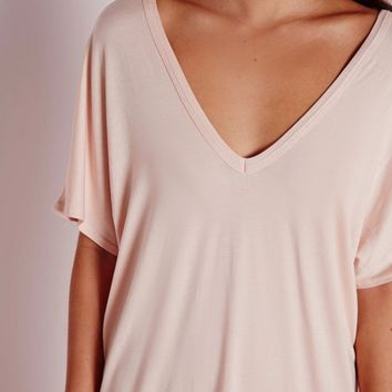 Missguided - Wide V Neck T-Shirt Dress Nude