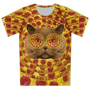 Cat Pizza Hypnotizing Pizza Eyes All Over Print 3d T-shirt