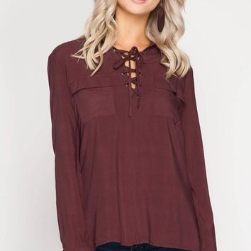 Long Sleeve Lace-Up Shirt Chestnut