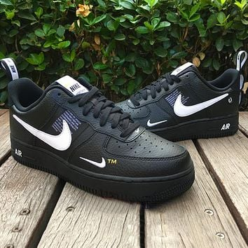 Nike Air Force 1 Classic Hot Sale Women Men Leisure Flat Sport Running Shoes Sneakers Black