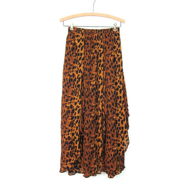 Vintage Animal Print Maxi Skirt HIGH SLIT Layered Rayon Skirt Animal Print Brown Black 90s Gypsy Skirt Beach Safari High Waist Skirt Small
