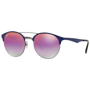 Kalete Ray-Ban RB3545 9005A9 Round Violet Gradient Mirror Lens Double Bridge Sunglasses