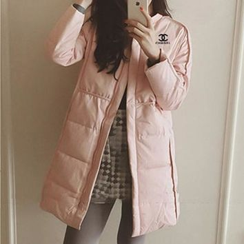"""""""Chanel"""" Women Simple Fashion Casual Zip Cardigan Long Sleeve Middle Long Section Cotton-padded Clothes Coat"""