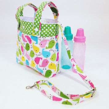 Pastel chicks baby stroller bag converts to shoulder bag diaper bag inside pockets adjustable strap key holder baby gift shower gift