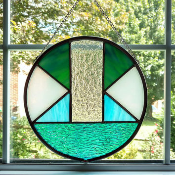 Abstract Stained Glass Round Panel, Blue and White Stained Glass Suncatcher, Modern Art, Contemporary Art, Housewarming Gift, Beach Decor