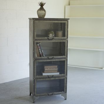 Metal and Glass Storage Cabinet with Fold Up Doors