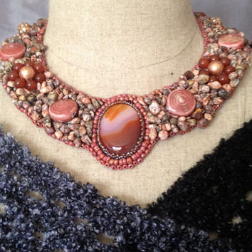 Beaded Necklace, Carnelian Cabachon, Bead Embroidered Necklace, Pink Lampwork Beads, Copper Beads, Carnelian Beads,Jasper Nuggets