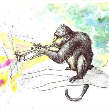 Art Original Watercolor painting - Funky Monkey Playing Trumpet
