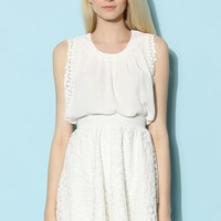 Pleats and Posies Chiffon Top in White