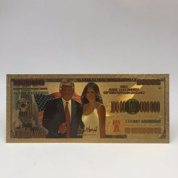 24k 999.9 Gold Banknote Donald Trump and The First Lady Melania Metal Gold Plated Paper Money for Christmas Gifts and Collection
