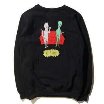 Retro tide brand alien sofa cheap cat Harajuku wind couples cotton plus velvet sweater men 's sweater