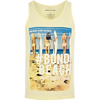 River Island MensYellow Bondi Beach photo print tank