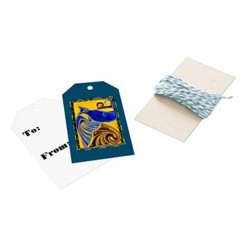 Winged Feline Hybrid Warrior Cat Design Gift Tags