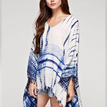 Selia Boho Tie Dye Blue Light Weight Lovestitch Poncho