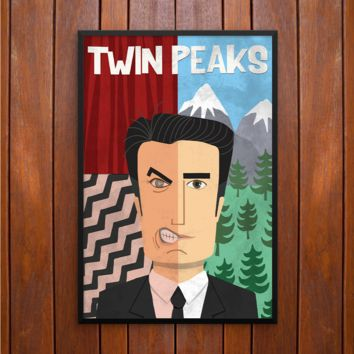 Twin Peaks' Agent Dale Cooper Cartoon Poster or Framed Print