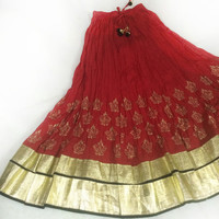 Skirts-Red Party skirt-long skirt-Border skirt-thanksgiving-Bollywood Skirt-border skirt-Dance skirt-Festival