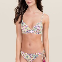 Karah Tropical Print Pushup Swimsuit Top