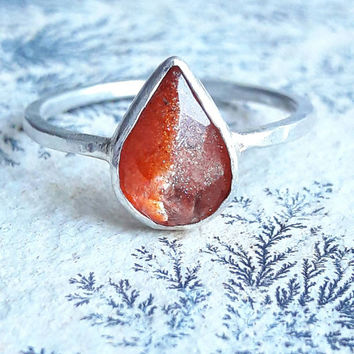 Pear Shaped Sunstone and Sterling Silver Ring - Sunstone Ring - Orange Stone Ring - Gaia's Candy - Sunstone Jewelry - Birthday Gift for Her